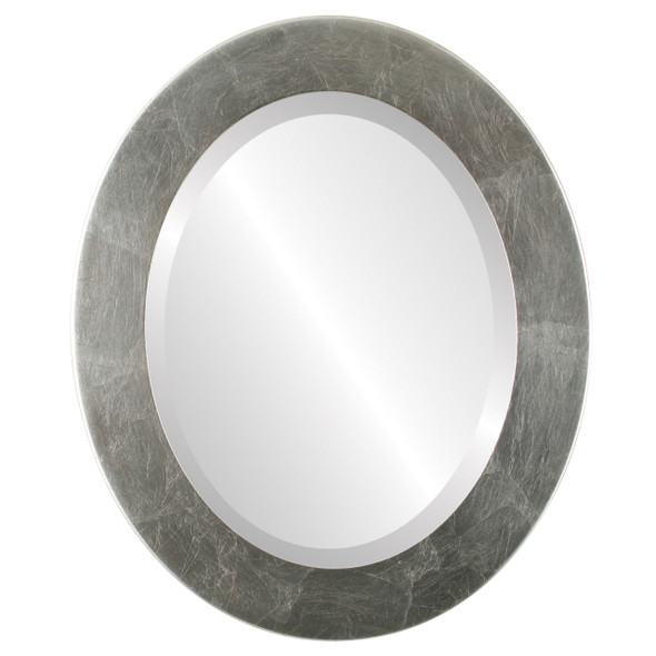 Beveled Mirror - Cafe Oval Frame - Silver Leaf with Brown Antique