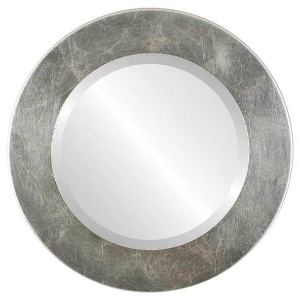 Beveled Mirror - Cafe Round Frame - Silver Leaf with Brown Antique