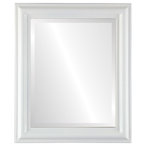 Beveled Mirror - Philadelphia Rectangle Frame - Linen White