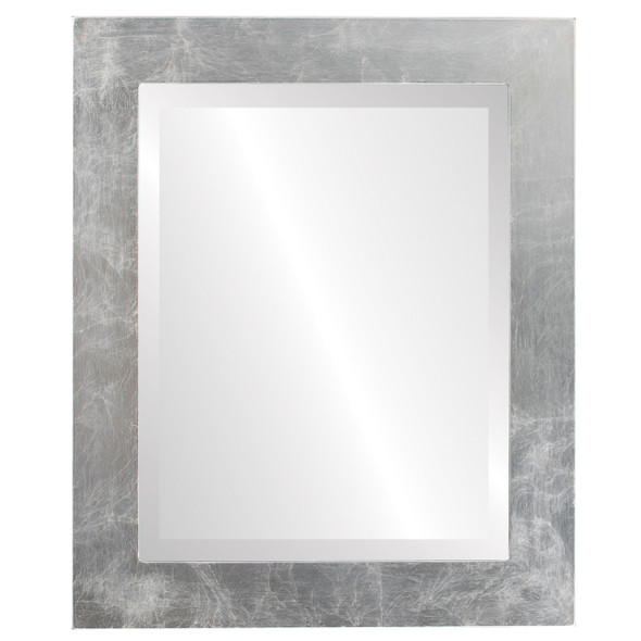Beveled Mirror - Cafe Rectangle Frame - Silver Leaf with Brown Antique