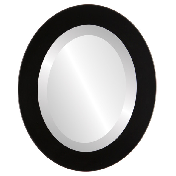 Beveled Mirror - Cafe Oval Frame - Matte Black