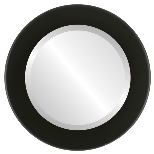 Beveled Mirror - Cafe Round Frame - Matte Black