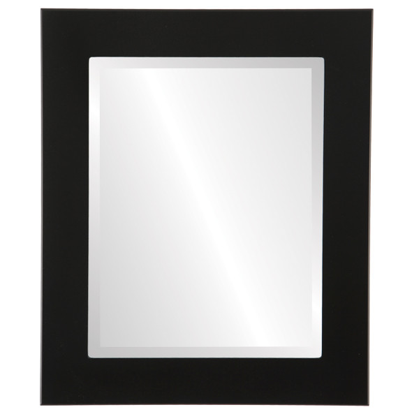 Beveled Mirror - Cafe Rectangle Frame - Matte Black