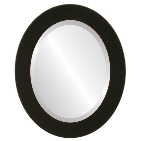 Beveled Mirror - Cafe Oval Frame - Rubbed Black