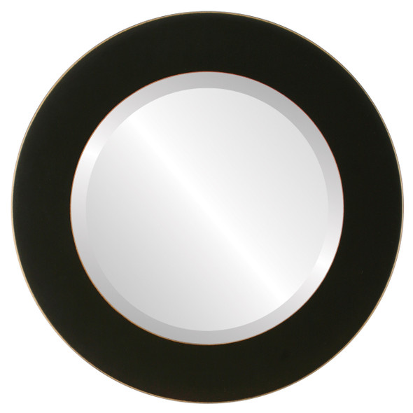 Beveled Mirror - Cafe Round Frame - Rubbed Black