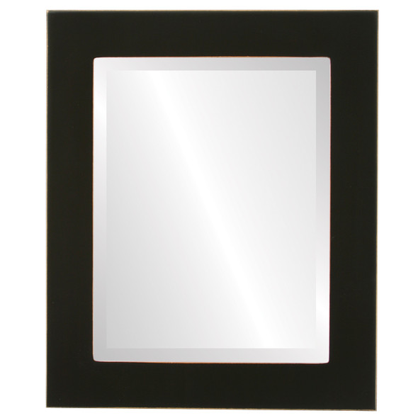 Beveled Mirror - Cafe Rectangle Frame - Rubbed Black