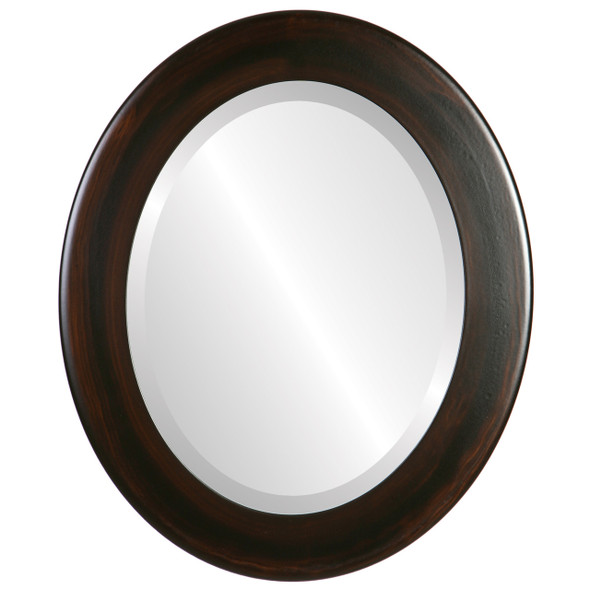 Beveled Mirror - Cafe Oval Frame - Mocha