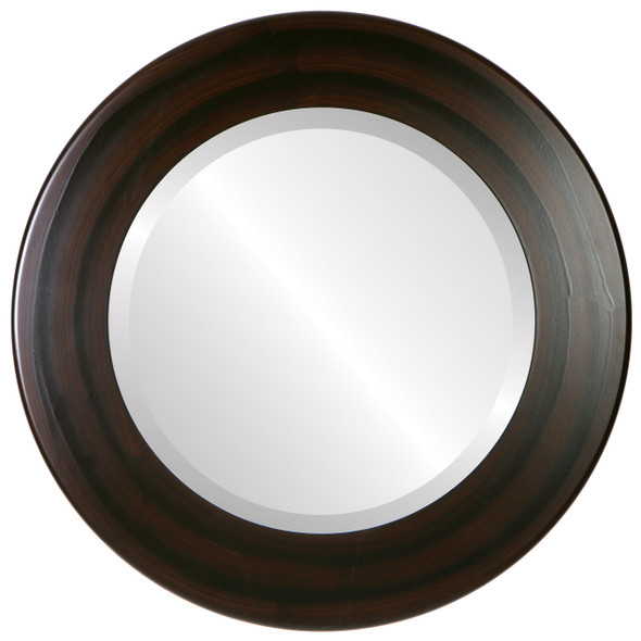 Beveled Mirror - Cafe Round Frame - Mocha