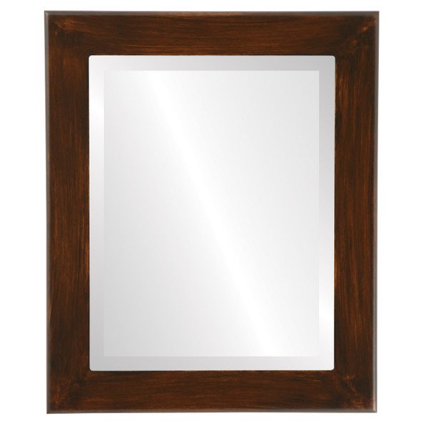 Beveled Mirror - Cafe Rectangle Frame - Mocha