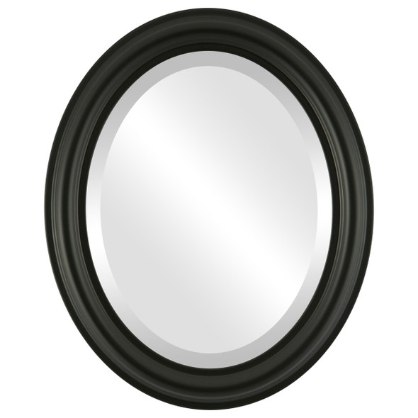 Beveled Mirror - Philadelphia Oval Frame - Matte Black
