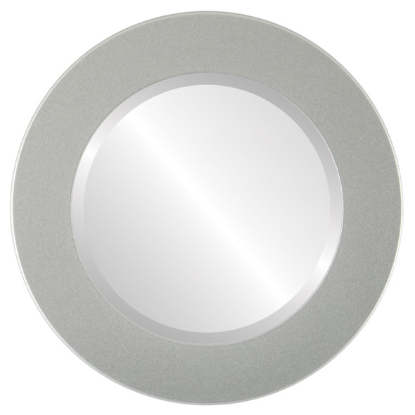 Beveled Mirror - Cafe Round Frame - Bright Silver