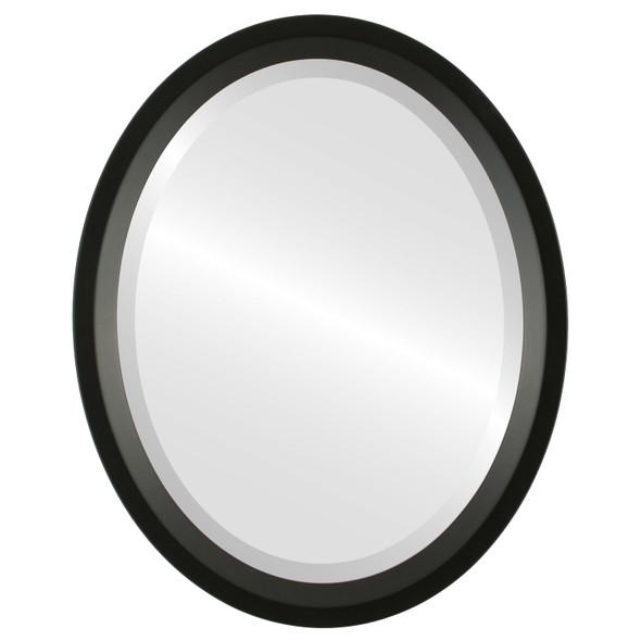 Beveled Mirror - Huntington Oval Frame - Matte Black