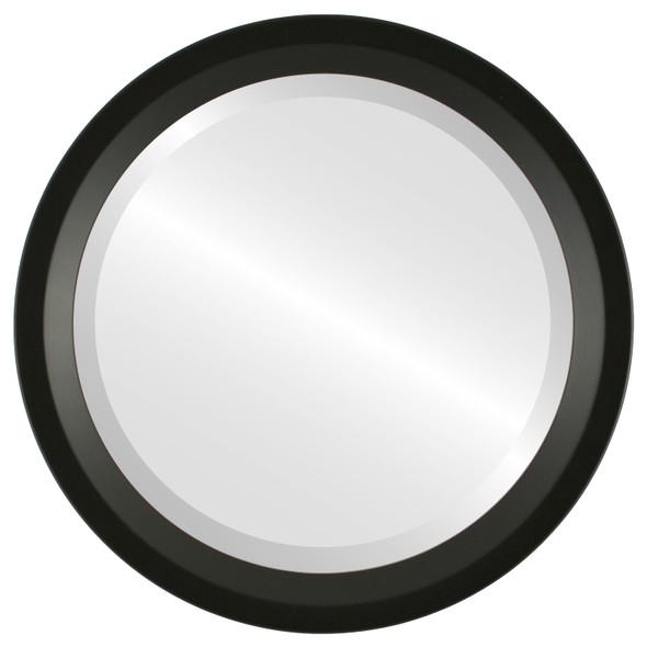 Beveled Mirror - Huntington Round Frame - Matte Black
