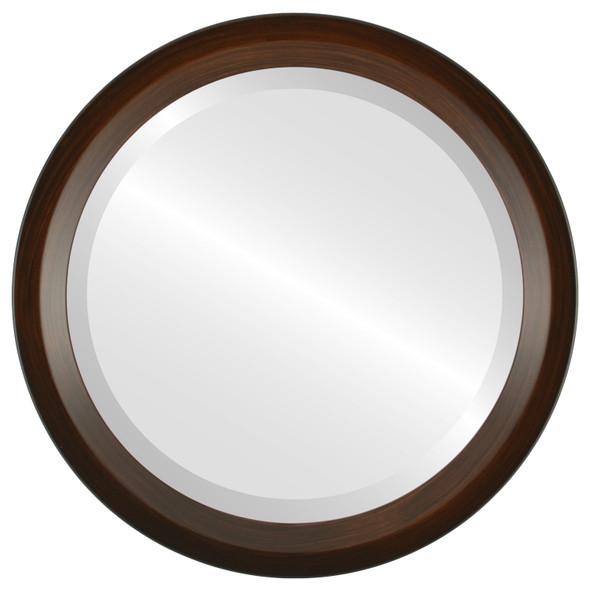Beveled Mirror - Huntington Round Frame - Mocha