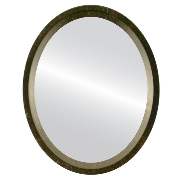 Flat Mirror - Huntington Oval Frame - Veined Onyx