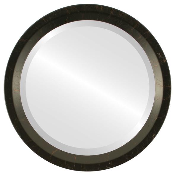 Beveled Mirror - Huntington Round Frame - Veined Onyx