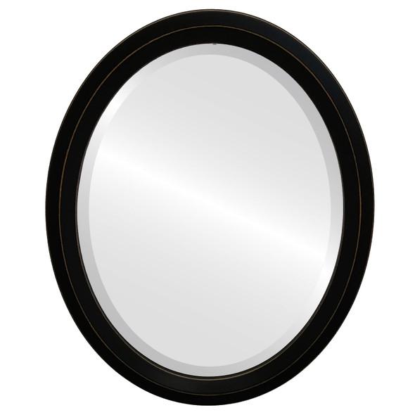 Beveled Mirror - Huntington Oval Frame - Rubbed Black
