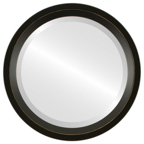 Beveled Mirror - Huntington Round Frame - Rubbed Black