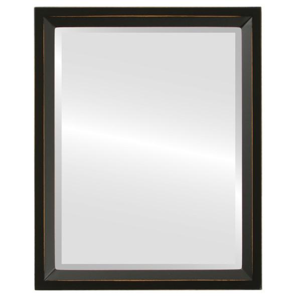 Beveled Mirror - Huntington Rectangle Frame - Rubbed Black