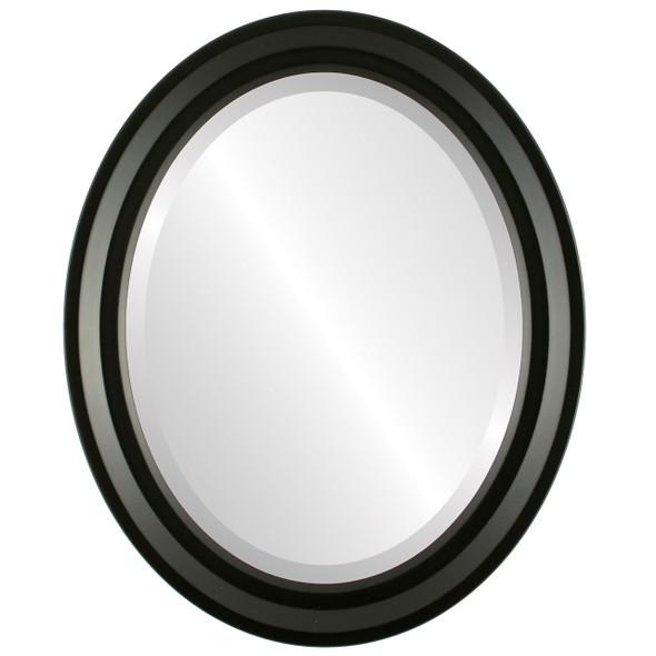 Beveled Mirror - Newport Oval Frame - Matte Black