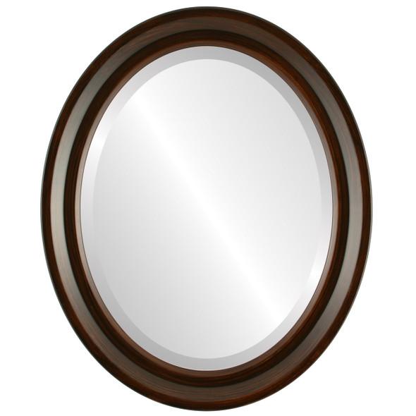 Beveled Mirror - Newport Oval Frame - Mocha