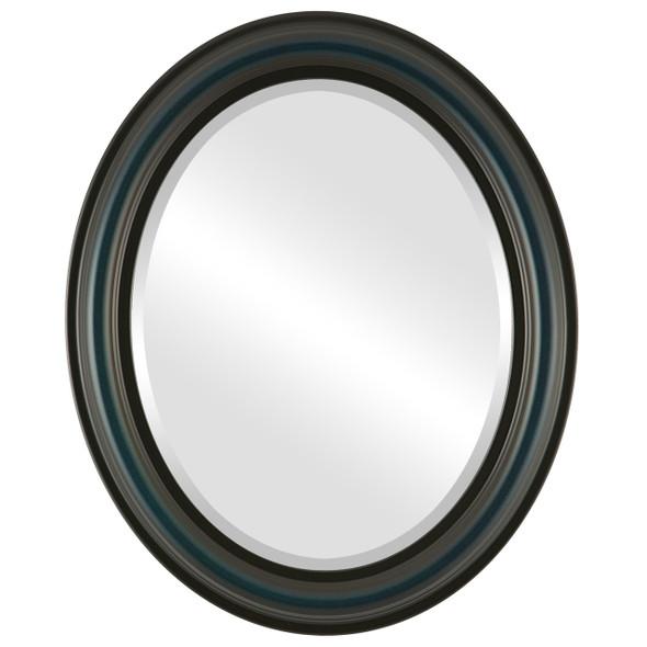 Beveled Mirror - Philadelphia Oval Frame - Royal Blue