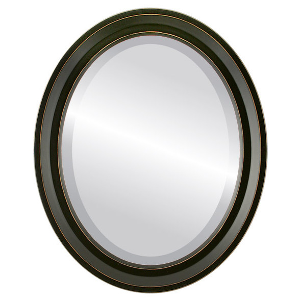 Beveled Mirror - Newport Oval Frame - Rubbed Black