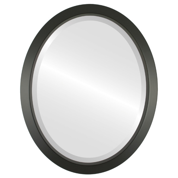 Beveled Mirror - Regatta Oval Frame - Matte Black