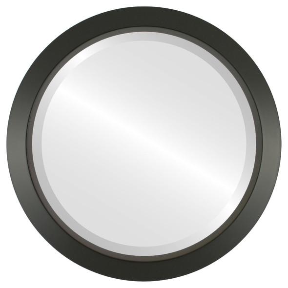 Beveled Mirror - Regatta Round Frame - Matte Black