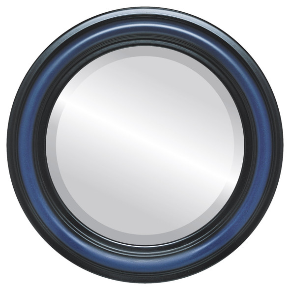 Beveled Mirror - Philadelphia Round Frame - Royal Blue