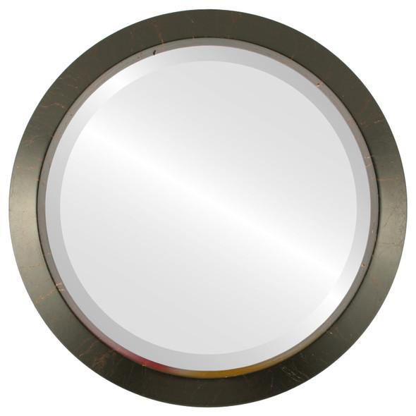 Beveled Mirror - Regatta Round Frame - Veined Onyx