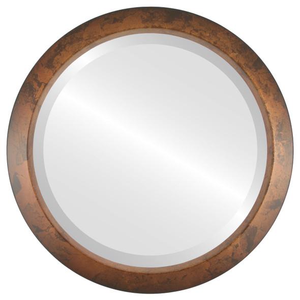 Beveled Mirror - Regatta Round Frame - Venetian Gold