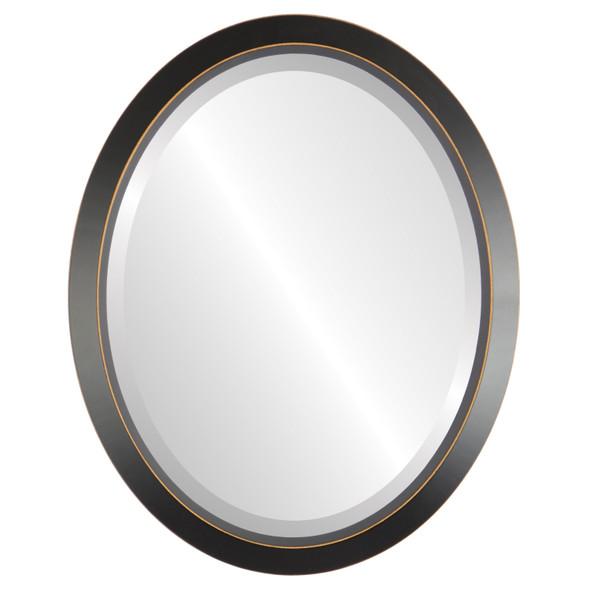 Beveled Mirror - Regatta Oval Frame - Rubbed Black