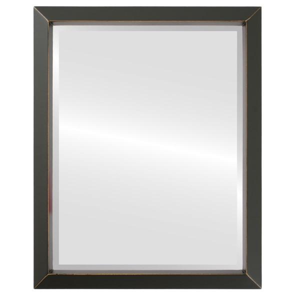 Beveled Mirror - Regatta Rectangle Frame - Rubbed Black