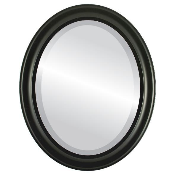 Beveled Mirror - Messina Oval Frame - Matte Black