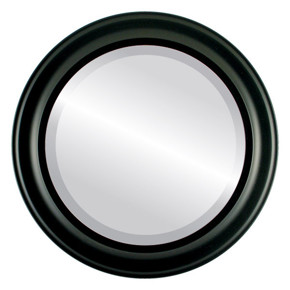 Beveled Mirror - Messina Round Frame - Matte Black