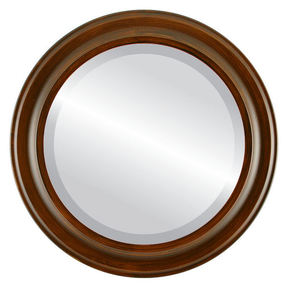 Beveled Mirror - Messina Round Frame - Mocha