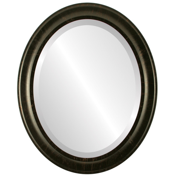 Beveled Mirror - Messina Oval Frame - Veined Onyx