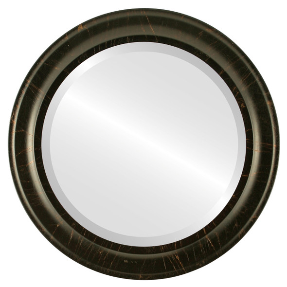 Beveled Mirror - Messina Round Frame - Veined Onyx