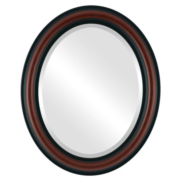 Beveled Mirror - Philadelphia Oval Frame - Rosewood