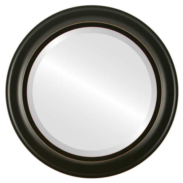 Beveled Mirror - Messina Round Frame - Rubbed Black