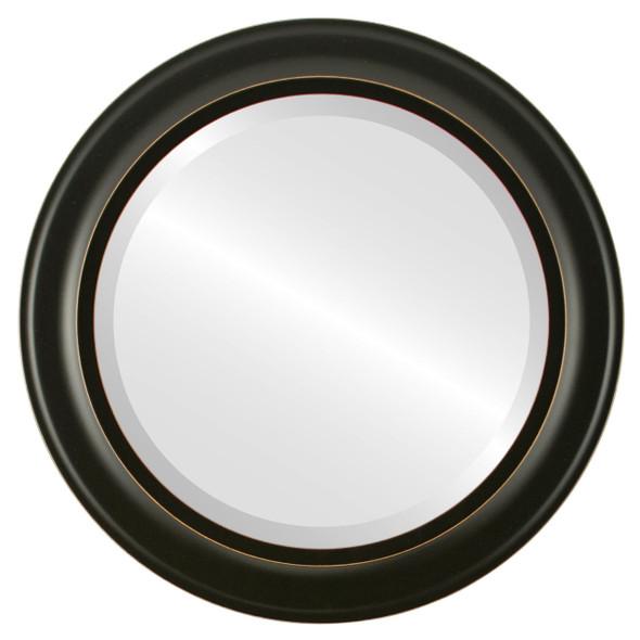 Beveled Mirror - Messina Round Frame - Rubbed Black