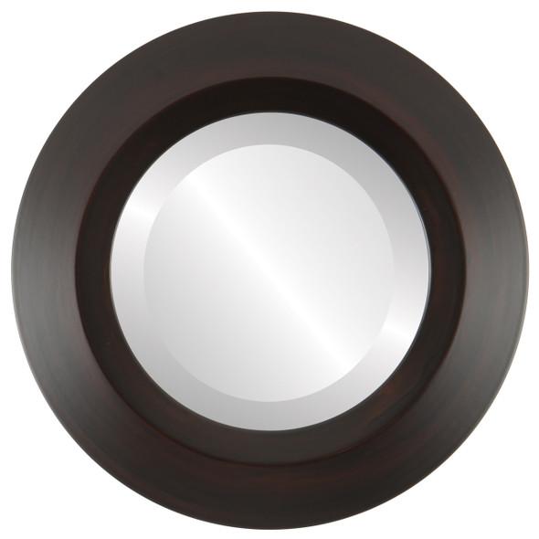 Beveled Mirror - Veneto Round Frame - Mocha