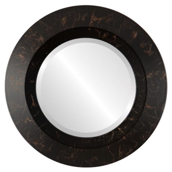 Beveled Mirror - Veneto Round Frame - Veined Onyx