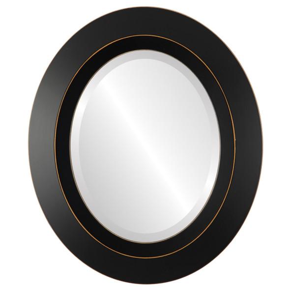 Beveled Mirror - Veneto Oval Frame - Rubbed Black