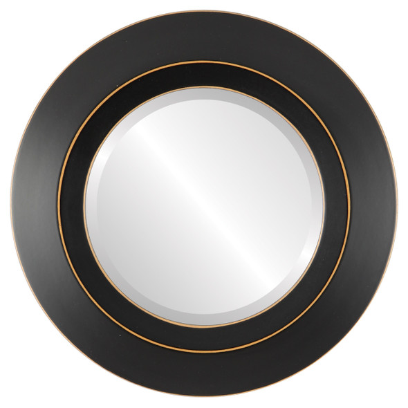 Beveled Mirror - Veneto Round Frame - Rubbed Black