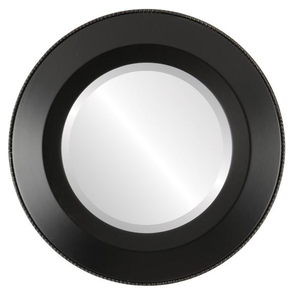 Beveled Mirror - Lombardia Round Frame - Matte Black