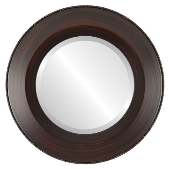 Beveled Mirror - Lombardia Round Frame - Mocha