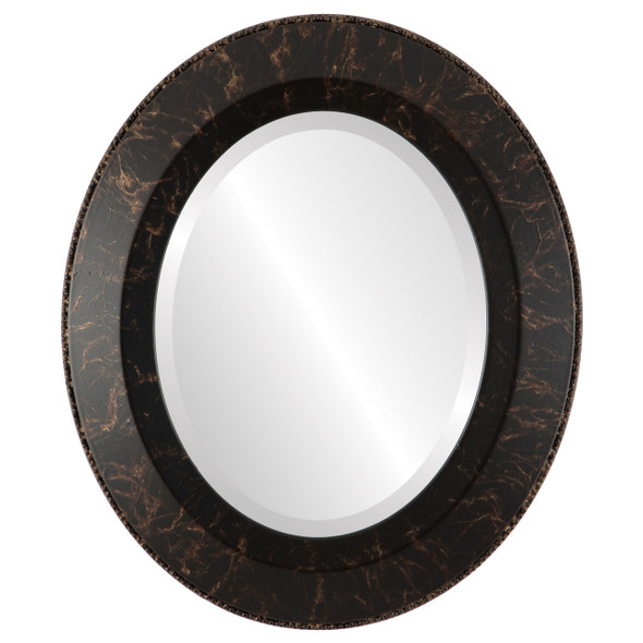 Beveled Mirror - Lombardia Oval Frame - Veined Onyx