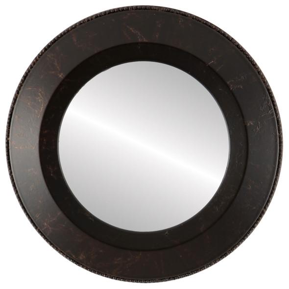 Beveled Mirror - Lombardia Round Frame - Veined Onyx
